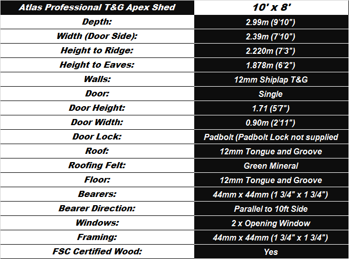 Atlas T&G 10'x8' Apex Shed Spec Table