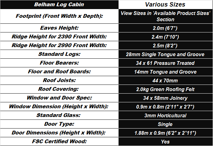 Belham Log Cabin Spec Table