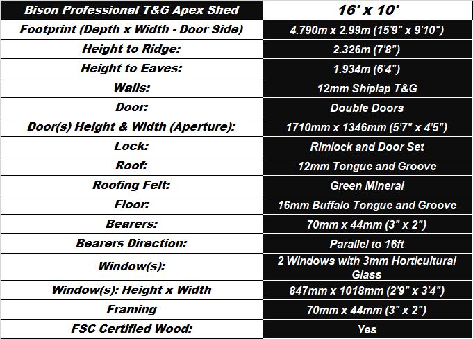 Bison T&G 16'x10' Apex Workshop Spec Table