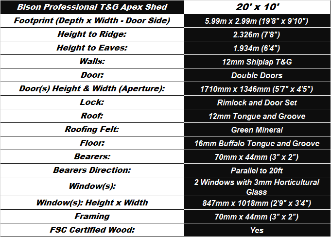 Bison T&G 20'x10' Apex Workshop Spec Table