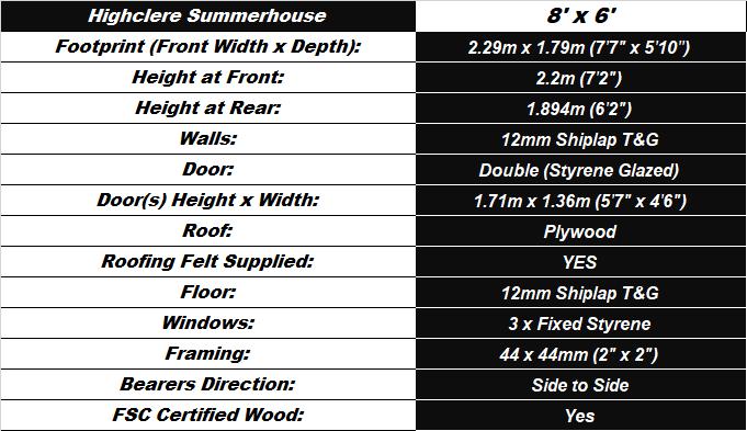 Highclere Summerhouse 8'x6' Spec Table