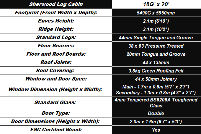 Sherwood Log Cabin Table Spec