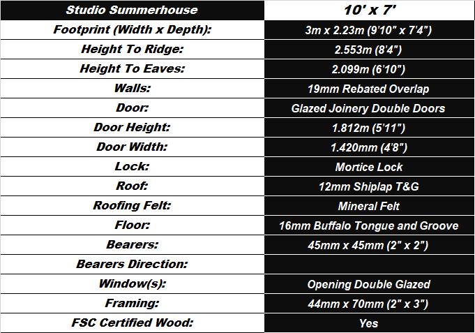 Studio Summerhouse 10'x7' Shed Spec Table