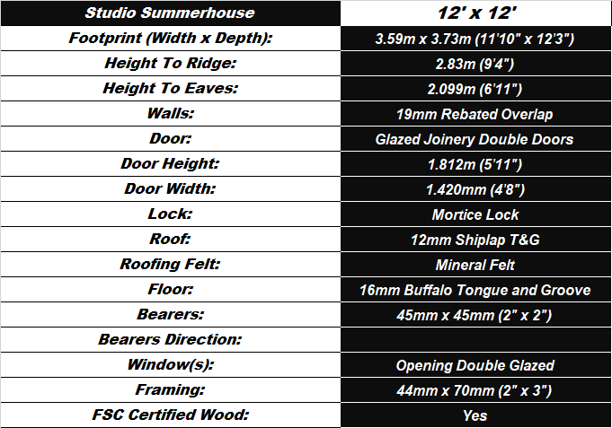 Studio Summerhouse 12'x12' Shed Spec Table