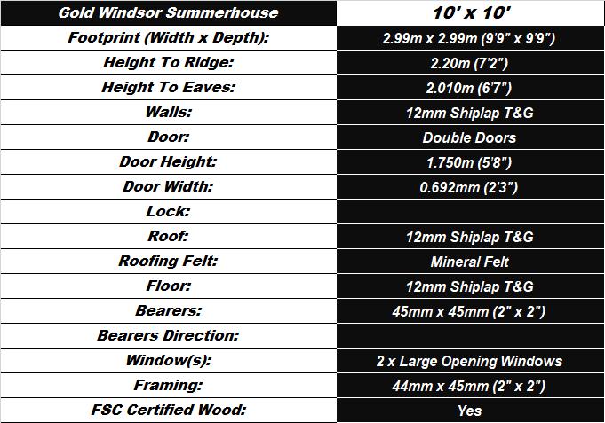 Windsor 10'x10' Summerhouse Spec Table