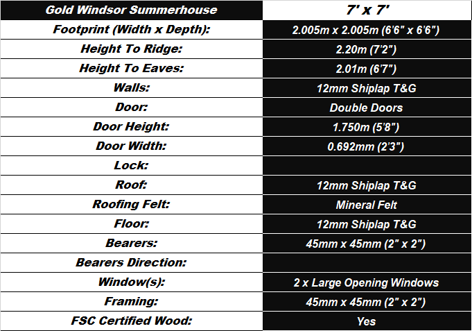 Windsor 7'x7' Summerhouse Spec Table