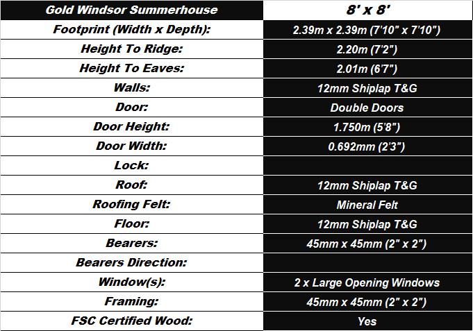 Windsor 8'x8' Summerhouse Spec Table