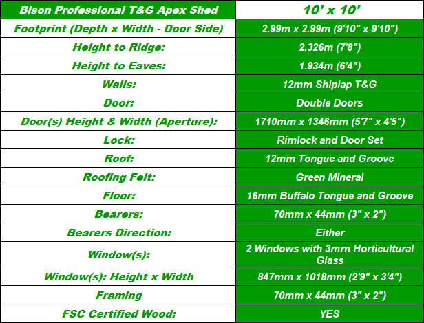 Bison T&G 10'X10' Apex Workshop Spec Table