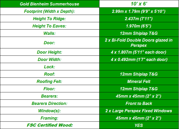 Blenheim 10'x6' Summerhouse Spec Table