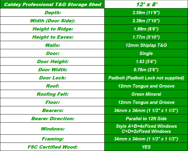 Caldey 12'x8' Storage Shed Spec Table