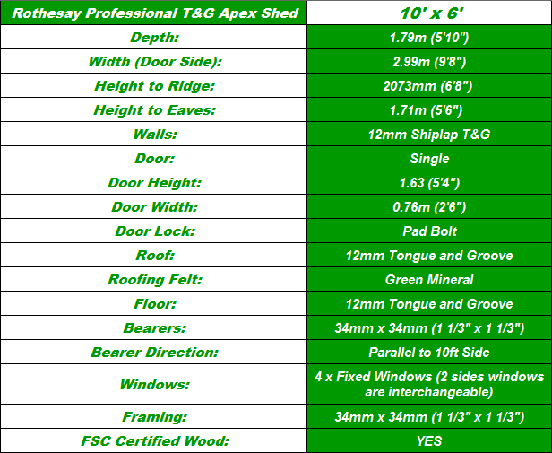 Rothesay T&G 10'x6' Storage Shed Spec Table