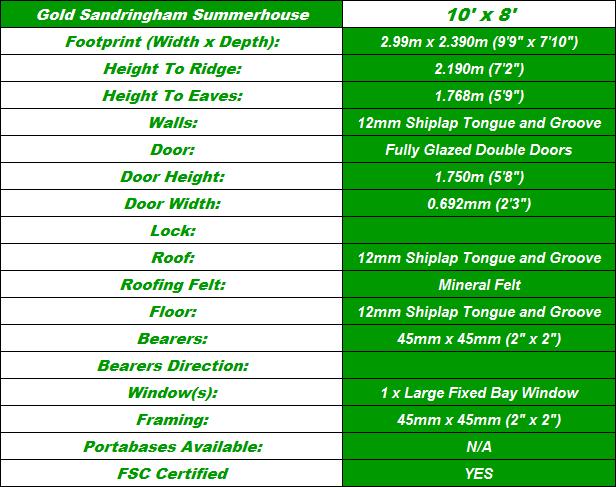 Summerhouse 10'x8' Summerhouse Spec Table