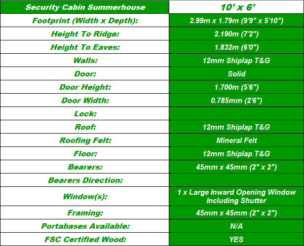 Security Cabin 10'x6' Summerhouse Spec Table