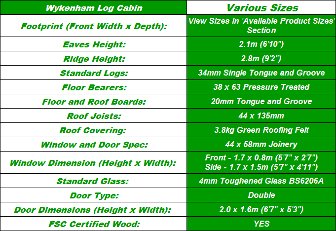 Wykenham Log Cabin Spec Table